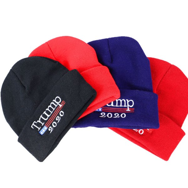 new 2020 Trump hat election cap American flag embroidered knitted caps election campaign custom beanies hat Cloches T2C5058