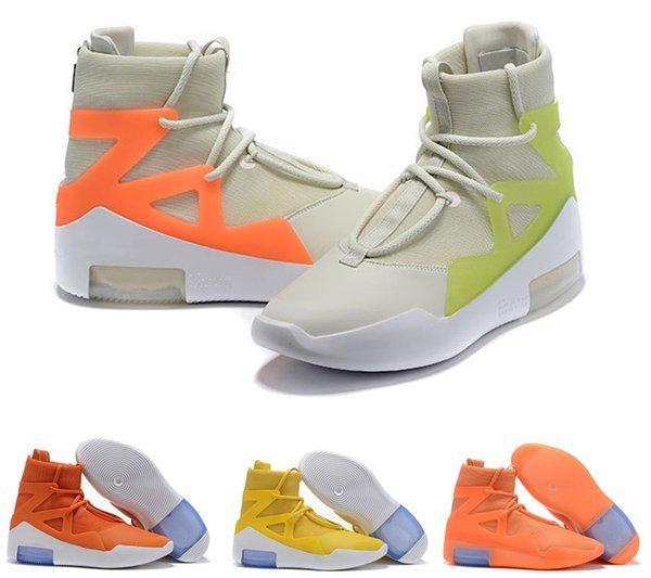 2019 Страх Божиих 1 X парус черного Амарилло туман Оранжевый Импульсная матовые еловая обувь баскетбол случайный походные ботинки мужчина размером 40-46