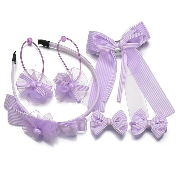 6pcs/set Children's Hair Accessories Gift Box Princess Baby Bow Hairpins Striped Ribbon Hairbands Hair Rubber Bands Headwear Set