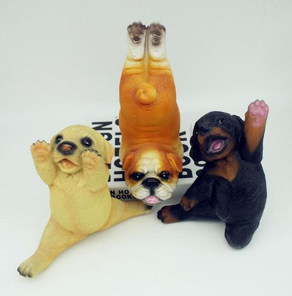 Golden Retriever Dobermann Pug Statue Simulation Yoga Puppy Dog Living Room Decor Gifts