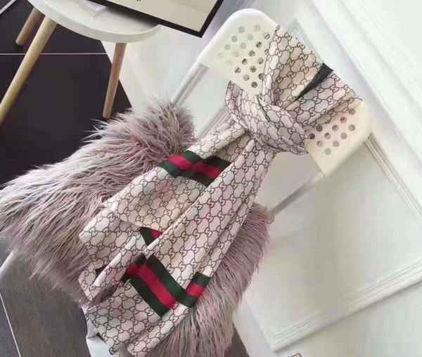 2019 Mode 100% Soie Foulard De Luxe Designer Femmes Rainbow Grid marques Écharpe Dames élégantes Wrap longues écharpes 180x90cm