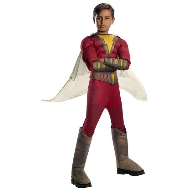 2019 Yeni Çocuk Muscle Shazam Çocuklar Superhero Fantezi Fantezi-Elbise Boys Halloween Cosplay Carnival Parti CostumeMX190921