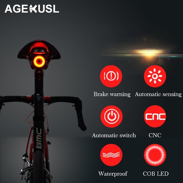 AGEKUSL Intelligent Bike Bicycle Lights Brake Warning Automatic Sensing Cycling MTB Road Bike Tail Rear Light Lamp Accessories #106651