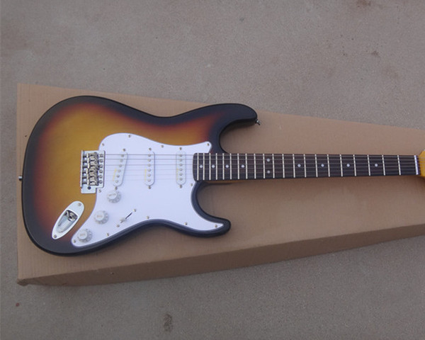 New sunset color electric guitar, rose wood finger plate, SSS pickup card, white guard plate, customizable, free delivery.