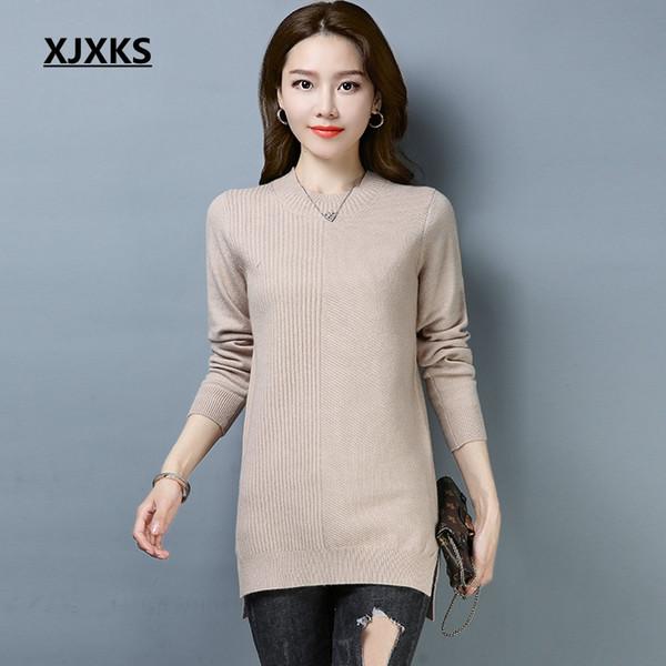 XJXKS Tinta unita 2019 pull femme hiver maglione donna moda stile maglioni donna split hem coreano donna lungo maglione