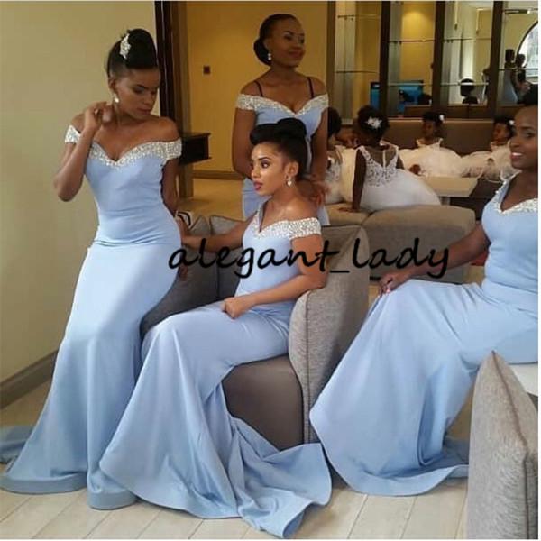 Işık Sky Blue Afrika Gelinlik Modelleri Kapalı Omuz Uzun Mermaid Robe De Soiree Sequins Boyun Çizgisi Kadın Düğün Elbiseleri