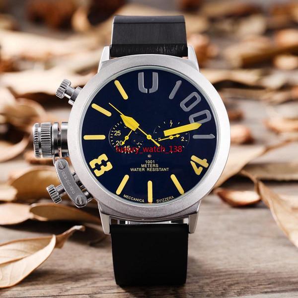 Мода Новый мужской Спорт Черный Резиновый Классический U Круглый Автоматический Механический Левый Крючок Ручные Часы Большие 50 мм Лодка Мужские Часы