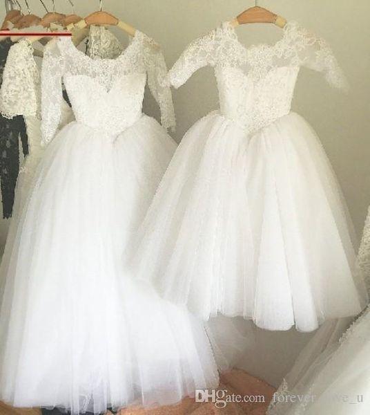 Sheer Neck Lace Appliques Tüll Mädchen Festzug Kleider Cut Belt Prinzessin Blumenmädchen Hochzeit Geburtstag Party-Kleid