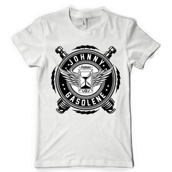 johnny gasolina octano bujía cabeza de pistón motocicleta dtg para hombre t shirt camisetas Impreso moda cuello redondo hombres camiseta o cuello