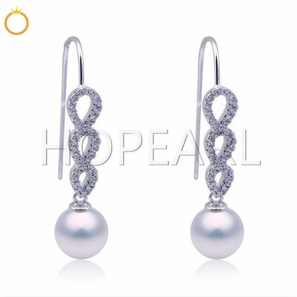 earring mountings without pearl elegant earring empty support accessories shinny zircon solid sterling silver fine jewelry