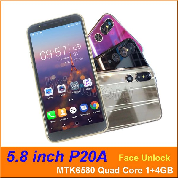 """Cheapest 5.8"""" P20A Smart Cell Phone MTK6580 Quad Core 1+4GB Android 6.1 3G WCDMA Unlocked Dual SIM Cam 5MP Mobile face unlock Smart Gesture"""