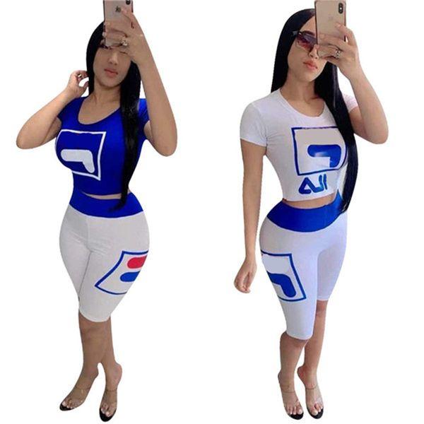 Abbigliamento donna 2 pezzi Set Tuta da lavoro Designer FIL Lettere Sportwear T-shirt maniche corte + Pantaloncini skinny Marca Jogger Outfit C6601