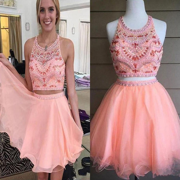 Short Pink Two Pieces Beaded Off Shoulder Homecoming Dresses Sweet 16 Cute Cocktail Graduation Short Prom Gowns Formal Party Dress