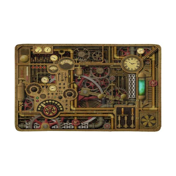 Steampunk with Clocks Gears and Cogs Pipes and Switches Indoor Doormat Non Slip Front Entrance Door Mat Rug