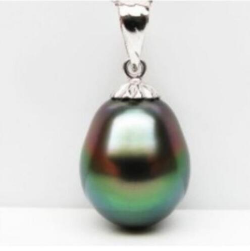 Jewelryr Perlen-Anhänger, der natürliche tahitian Pfau-Grün-Tropfenperlenanhänger-Silberkaution bezaubert Freies Verschiffen