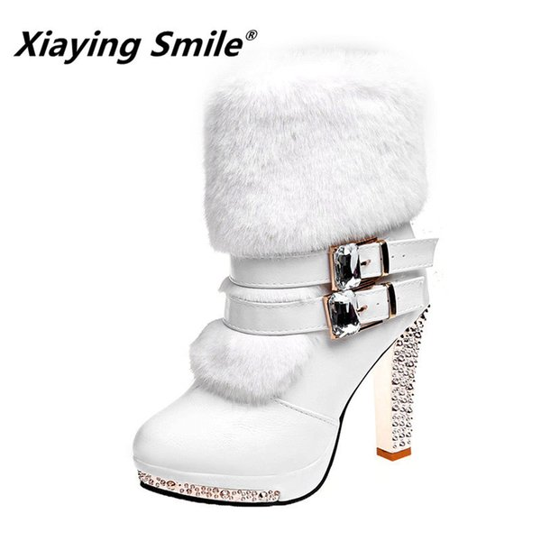Women High End Boots Super High Fashion Warm Double Buckle Faux Fur Crystal Casual Shoes Thin Heels Ladies Boots