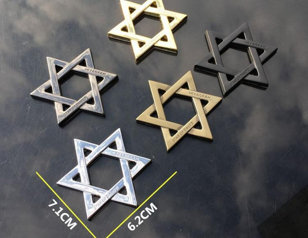 DHL Car Decoration Hexagram Six Pointed Star Stickers Logo Metal 3D Aluminium Emblem Badge Decal Auto Auto Styling Car Accessories