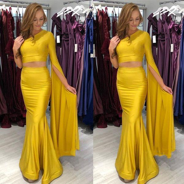 Elegante, amarillo, un hombro, manga larga, vestidos de noche, vaina de satén 2019, dos piezas, vestidos de baile baratos