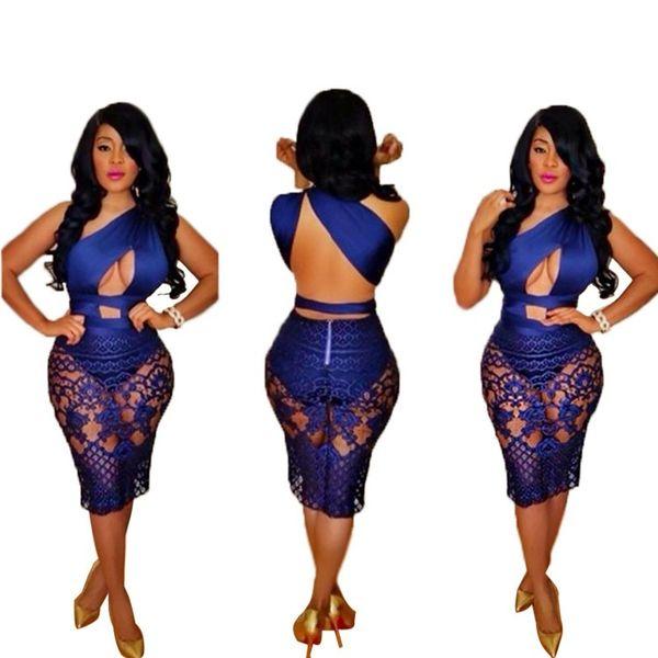 Yaz Kadın Dantel Hollow Out Bandaj Bodycon Elbise Seksi Kolsuz Mavi Parti Kulübü Midi Vestidos S-XL