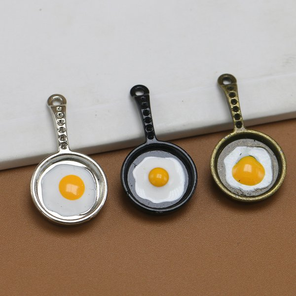 Lovely 3 Colors Frying Egg Pot Alloy Pendants Beads Antiqued Charms DIY Jewelry for Necklace Bracelet Keyrings Xmas Gifts