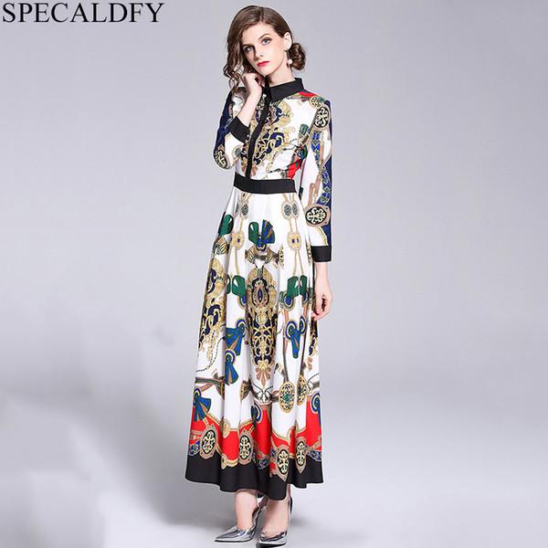 2019 hochwertige kleider für frau print brand design maxi dress lange casual party kleider robe femme habille