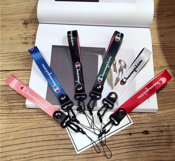 Diseñador de moda Teléfono Cordón Llavero Correas Cuello Tarjeta de identificación Cordón Muñequera Correa corta 5 colores por DHL