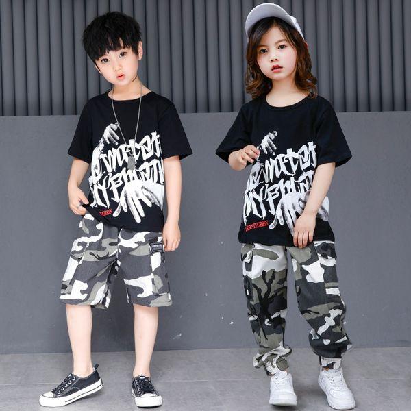 Kid Hip Hop Vêtements Dancewear Casual T Shirt Camouflage Jogger Pantalon pour Garçon Filles Ballroom Dance Costume Jazz Danse Vêtements
