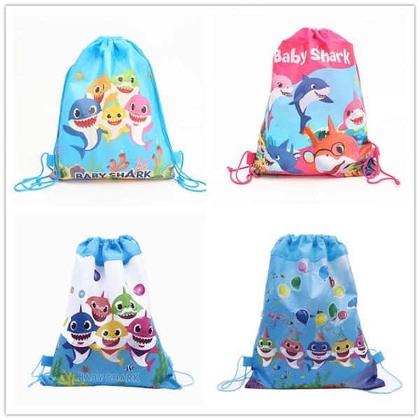 Baby Shark Non-Woven Fabric Drawstring Bags Shopping School Swimming Backpacks Baby Shark Cartoon Children Birthday Party Gifts Bag 12pcs