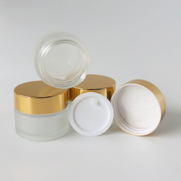 200 x 15 Frost Glass Cream Jar With White Seal Gold Black Lids For Cosmetic Use 1/2oz Make Up Container