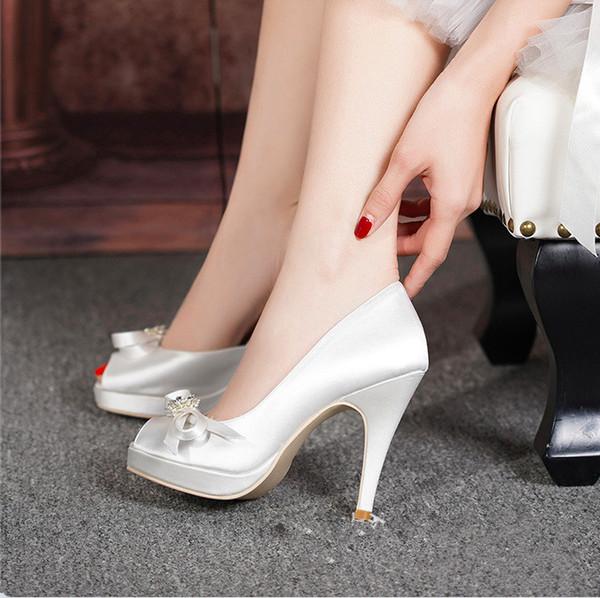 Nuevo diseño Fishmouth nupcial zapatos de boda blanco seda satinado impermeable de tacón alto de la boda zapatos de banquete