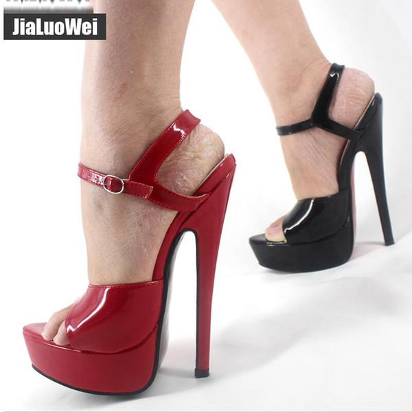 18cm High Heels Sandals Women Fetish Sexy Ankle Strap Buckle Summer Party Dress Shoes Woman Open Toe Stage Show Platform Sandals Shoes