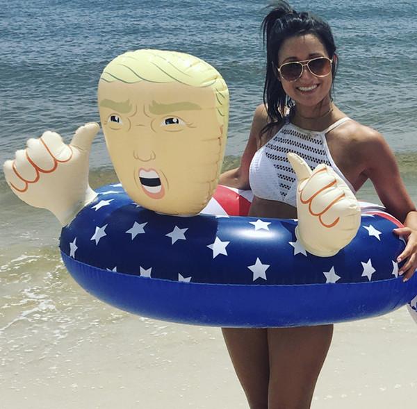 Ins Cartoon Trump Swim Anel Inflável Flutua 110 cm Engrossar Gigante Mais Novo Verão Divertido Inflável Praia Jogar Água Flutuar Assento Assento A32004