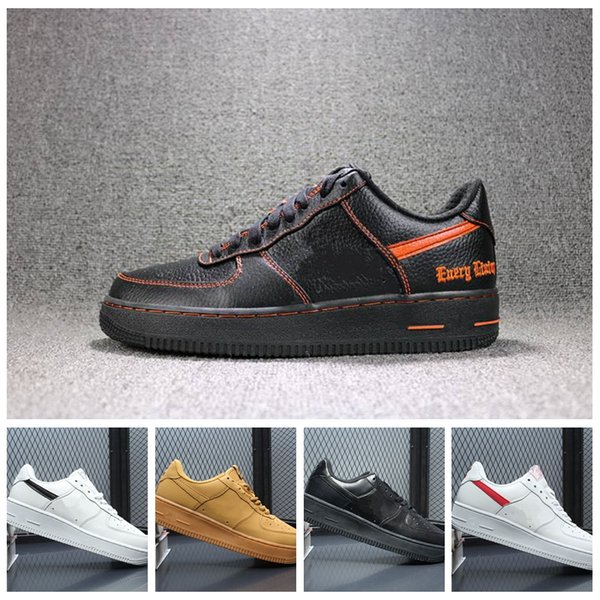2017 top quality NEW men women af1 07 low fashion the high top white Casual shoes black Leather love unisex one 1 free shipping euro 36-45