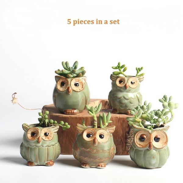 5pc / set Cartoon Pot De Fleur En Hibou En Forme De Succulentes Plantes Charnues Pot De Fleurs En Céramique Petite Mini Maison / jardin / bureau Décoration Q190604