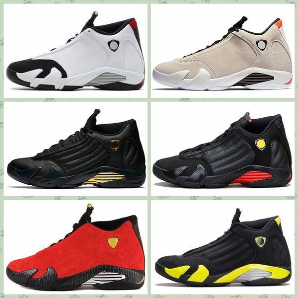 J014HA 14 XIV Okside Yeşil Indiglo Thunder Playoff Siyah Ayak Kırmızı Süet 14 s Erkekler Basketbol Ayakkabıları Sneaker Son Shot Spor Ayakkabıları Us7-12.5