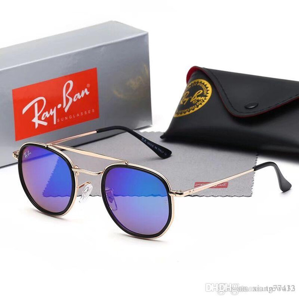 Hot sale gdjdj High Quality Classic Pilot Sunglasses Designer Brand Mens Womens Sun Glasses Eyewear Gold Metal Green Glass Lenses Brown Case