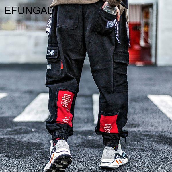 EFUNGAL Track Pants Men 2019 Spring Fashion Casual Harem Joggers Man Color Block Letter Patchwork Urban Hip Hop Streetwear FD114