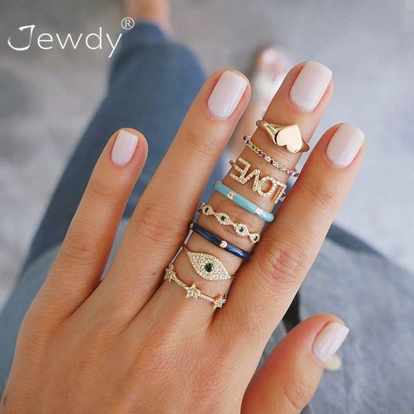 8 Pcs/ Set Bohemian Evil Eye Love Heart Star Crystal Rings For Women Gems Geometry Gold Midi Finger Jewelry Christmas Gifts 2019