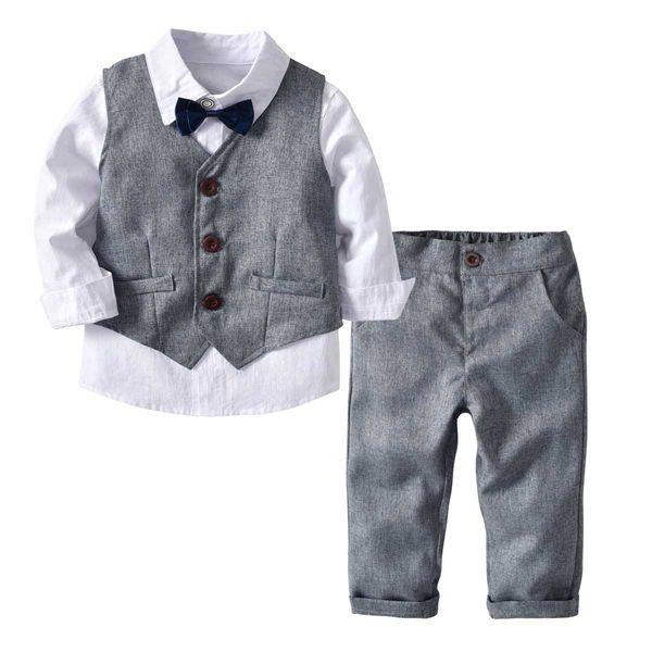 Sevimli Toddler Bebek Boys Beyefendi Suits Yay Beyaz Gömlek Yelekler ve Pantolon 3 adet Setleri Bahar Sonbahar Sevimli Bebek Erkek Giysileri