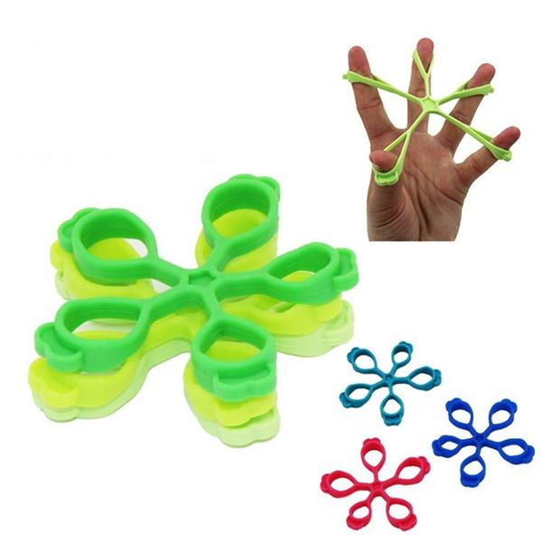 Apertos de mão Exercitador Silicone Flor em forma de maca Formador de dedo Cor verde Dedos Gripper Resistência Bandas de equipamentos de fitness 1 7