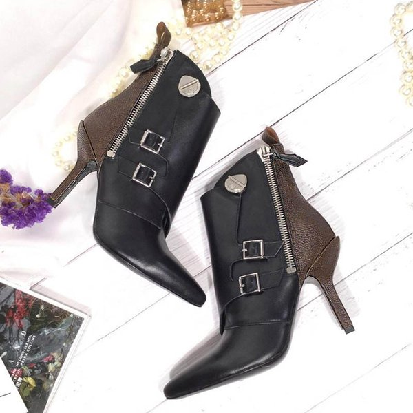 women fashion boots luxury Ankle Boots pointed toe Designer shoes genuine leather shoes size 35-40 model XB01