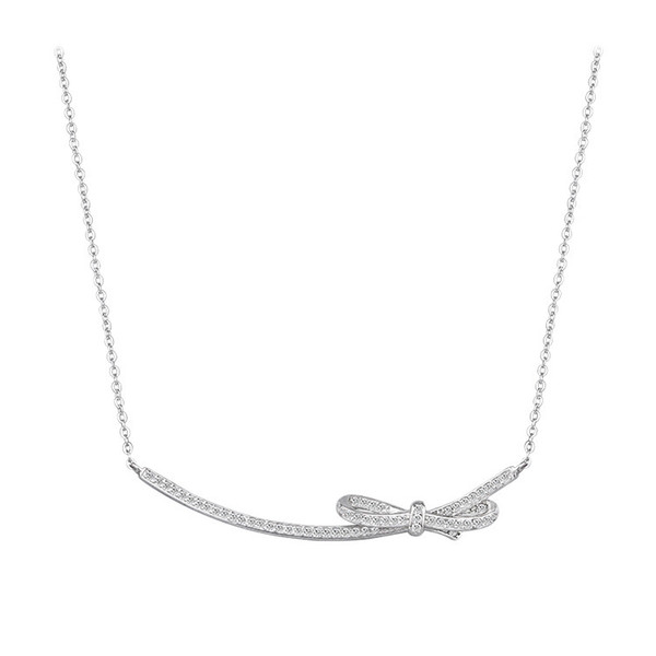 S925 sterling silver necklace bow and diamond necklace female clavicle chain Korean fashion temperament silver jewelry