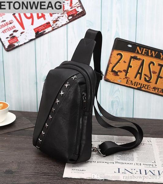 Фабрика независимый бренд мужская сумка мода кожа мужчины сумка личность заклепки панк форма груди мужская заклепка досуг сумка