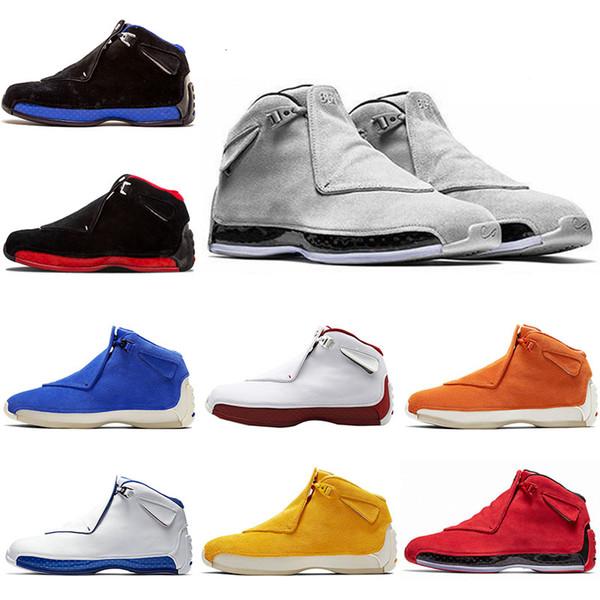 Hot Jumpman 18 OG XVIII Suede 18SS Hommes Chaussons Chaussures Jaune Gris Bred oranges Royal Athletic Sport bleu entraîneurs des espadrilles concepteur chaussures 7-13