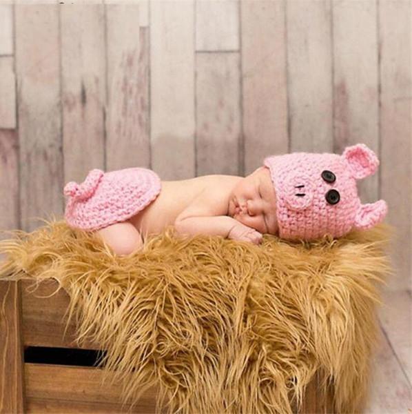 Bebé recién nacido niñas traje de cerdo rosado de punto bebé apoyos de la fotografía de dibujos animados traje para niña Crochet bebé sombrero