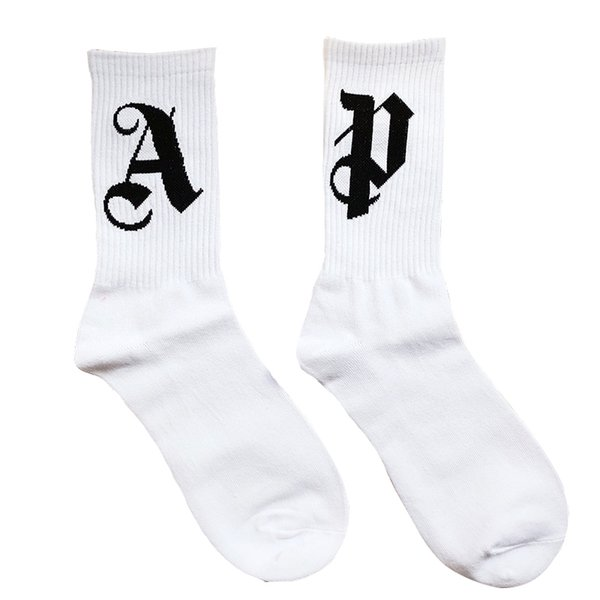 Palma Ángeles CALCET moda de la calle Confort de los hombres de algodón y las mujeres la pareja medias blancas Free Tube Tamaño Calcetines HFWPWZ013