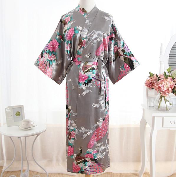 Sexy Grey Lady Summer Causal Robe Longue Peignoir Satin Chemise de Nuit Lingerie Imprimer Fleur Kimono Vêtements de Nuit Une Taille S703