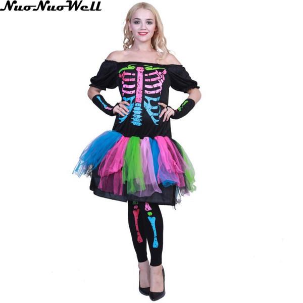 Halloween trajes assustadores Mulheres Zombie Ghost Bride Cosplay Vestido Horror Corpse Bride Skeleton vampiro do dia do traje Morto