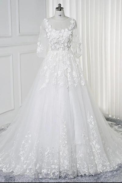 Attractive 3/4 Sleeve Jewel Neck White Wedding Dress Lace Flowers Attached Floral Wedding Dress Sheer Back vestidos de novia para boda civil