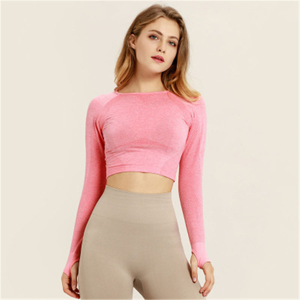 f0efd7be9a54bc Pink Seamless Yoga Shirts for Women Vital Seamless Long Sleeve Crop Top  Thumb Hole Fitted Gym